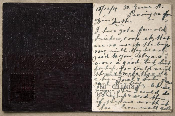 Elsewhere, 1948 postcard, black biro. 2011