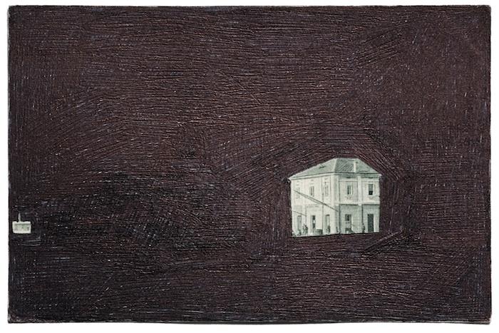 Elsewhere, 1946 postcard, black biro, 2009