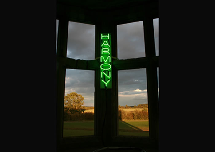 Untitled (believe), neon, 2009 (installed at Lyveden New Bield for Encounters, Fermynwoods Contemporary Art)