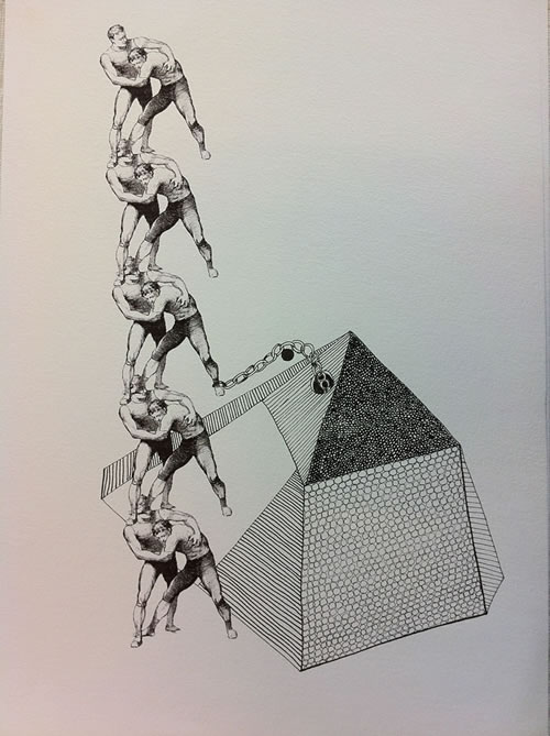 On the Shoulders of Men, giclee print and pen on paper, 2012