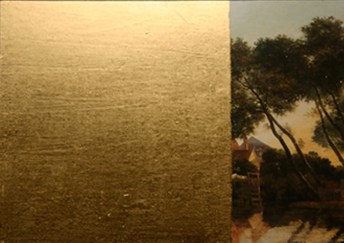 Gilding the Lily, postcards, gold leaf, 2010