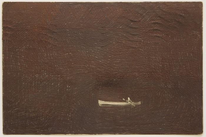 Elsewhere, 1952 postcard, black biro, 2010