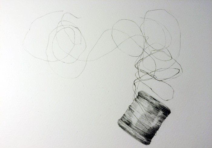 Florists Wire, pencil and pen on paper, 2015