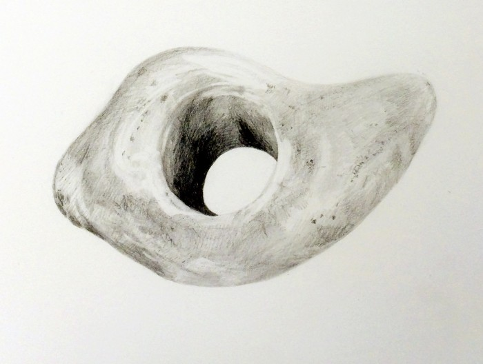 Block with Hole, from the Ruins Series, pencil on paper, 2015