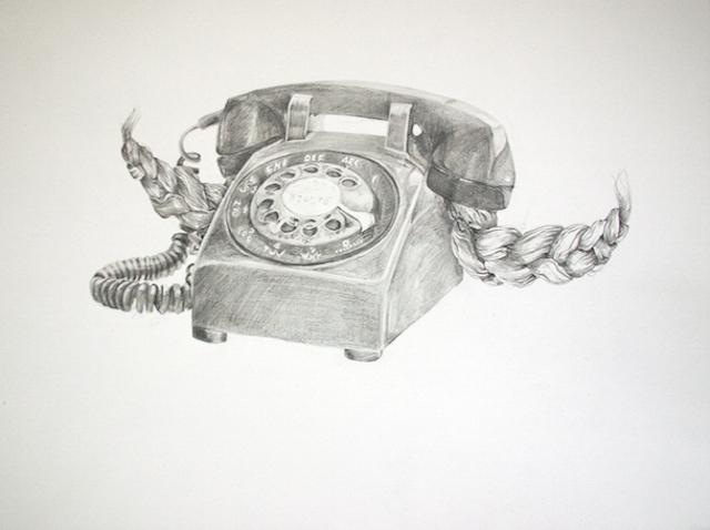Hair   Phone, graphite on paper, 55cm x 39cm. 2016